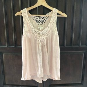 Anthropologie Lace Embroidered Linen Tank Top